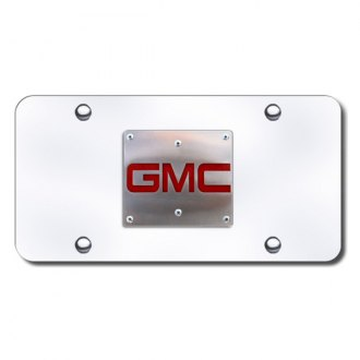 Autogold® - 3D GMC Brushed Stainless Logo on Chrome License Plate