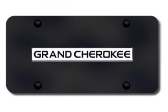 Autogold® - Grand Cherokee Logo on Black License Plate