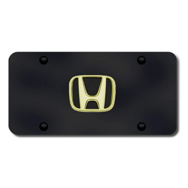 Autogold® - Gold Honda Logo on Black License Plate
