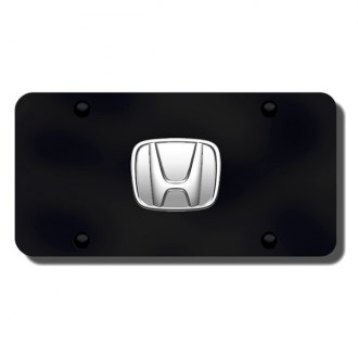Autogold® - Honda No Fill Logo on Black License Plate