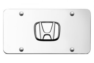 Autogold® - Honda No Fill Logo on Chrome License Plate