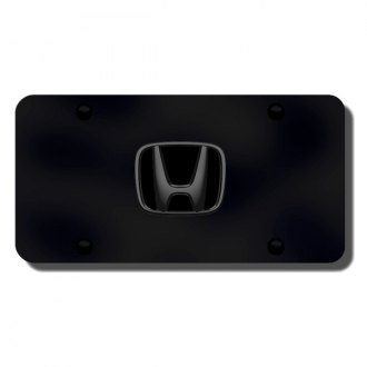 Autogold® - 3D Black Pearl Honda Logo on Black License Plate