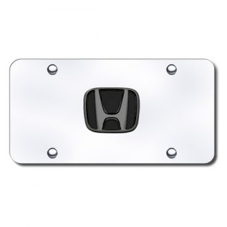 Autogold® - 3D Black with Pearl Honda Logo on Chrome License Plate
