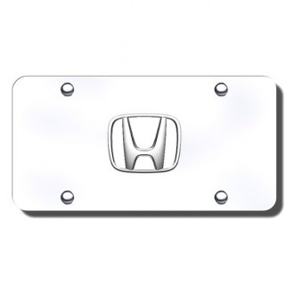 Autogold® - Honda White Fill Logo on Chrome License Plate