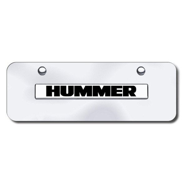 Autogold® - Hummer Logo on Chrome Mini Size License Plate