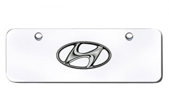 Autogold® - Hyundai Logo on Chrome Mini Size License Plate