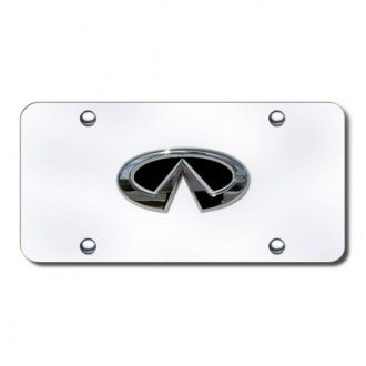 Autogold® - Infiniti Black and Chrome Logo on Chrome License Plate