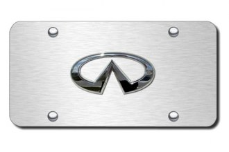 Autogold® - Infiniti Chrome Logo on Brushed License Plate