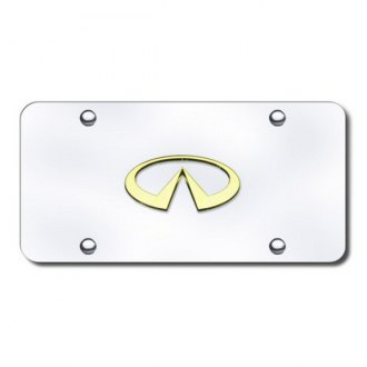 Autogold® - 3D Gold Infiniti Logo on Chrome License Plate