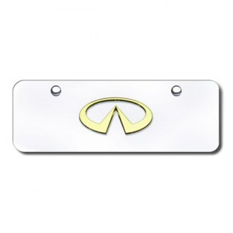Autogold® - 3D Gold Infiniti Logo on Chrome Mini Size License Plate
