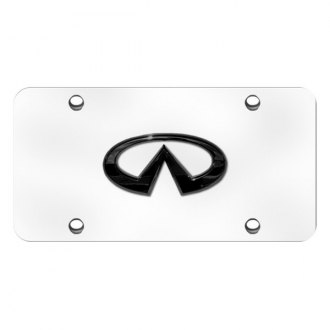 Autogold® - 3D Black with Pearl Infiniti Logo on Chrome License Plate
