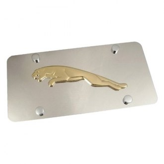 Autogold® - Gold Jaguar Logo on Chrome License Plate