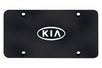 Autogold® - Kia OEM Chrome Logo on Black License Plate