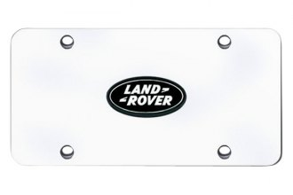 Autogold® - Land Rover Black Logo on Chrome License Plate