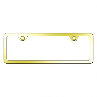Autogold® - Slimline Plain 2-Hole Gold Mini Size License Plate Frame