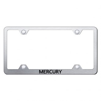 Autogold® - Laser Etched Mercury Logo on Wide Body Brushed Stainless License Frame
