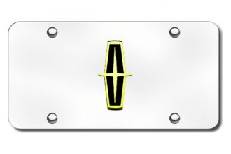 Autogold® - 3D Gold Lincoln Black Logo on Chrome License Plate