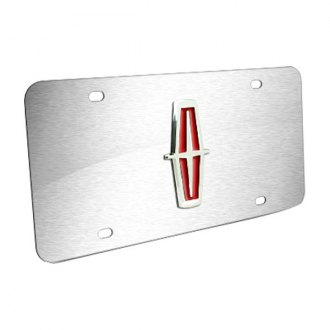 Autogold® - Lincoln Chrome Logo on Brushed Stainless License Plate