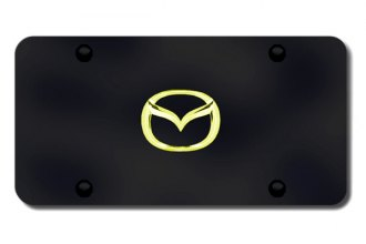 Autogold® - 3D Gold Mazda New Logo on Black License Plate