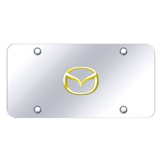 Autogold® - 3D Gold Mazda New Logo on Chrome License Plate