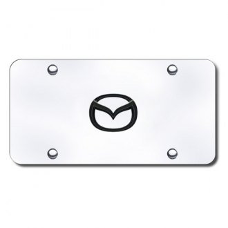 Autogold® - 3D Black Pearl Mazda New Logo on Chrome License Plate