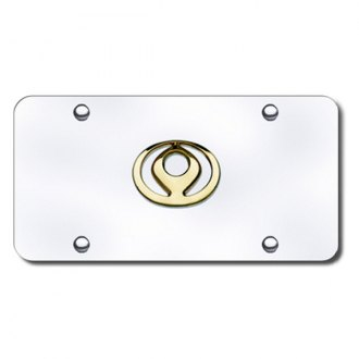 Autogold® - 3D Gold Mazda Old Logo on Chrome License Plate