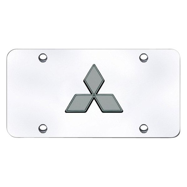 Autogold® - 3D Black Pearl Mitsubishi Logo on Chrome License Plate