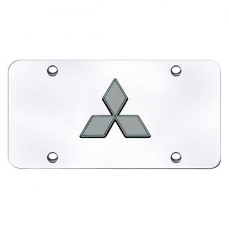 Autogold® - Black Pearl Mitsubishi Logo on Chrome License Plate