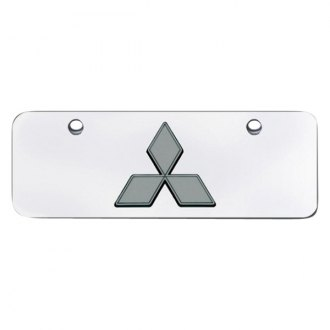 Autogold® - 3D Black Pearl Mitsubishi Logo on Chrome Mini Size License Plate