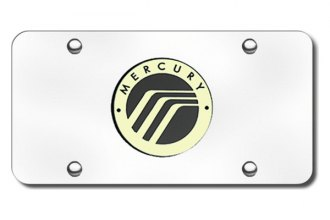 Autogold® - 3D Gold Mercury Logo on Chrome License Plate