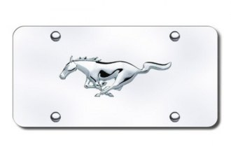 Autogold® - Mustang Horse Chrome Logo on Chrome License Plate