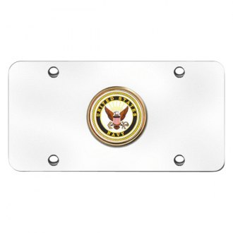 Autogold® - Navy Logo on Chrome License Plate