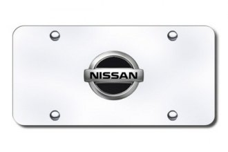 Autogold® - Nissan Black and Chrome Logo on Chrome License Plate