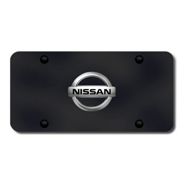 Autogold® - Nissan Chrome Logo on Black License Plate