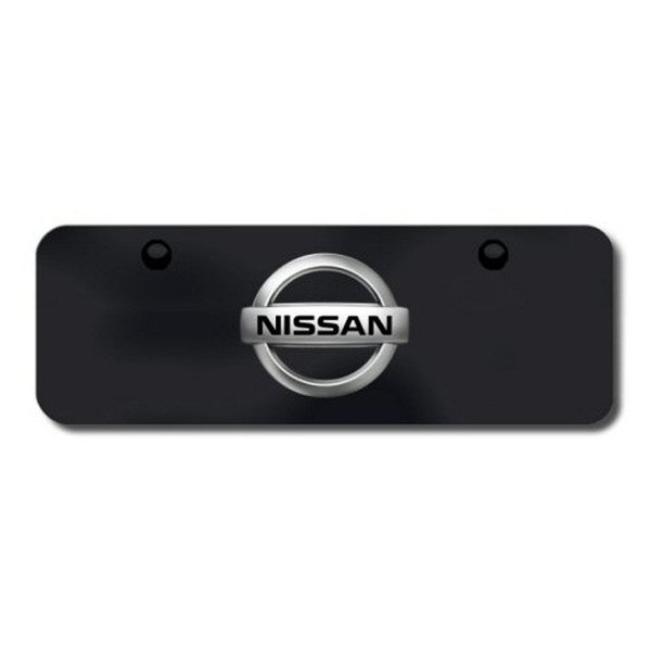 Autogold® - Nissan Chrome and Black Logo on Black Mini Size License Plate