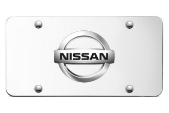 Autogold® - Nissan Chrome Logo on Chrome License Plate