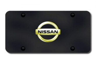 Autogold® - Gold Nissan Logo on Black License Plate