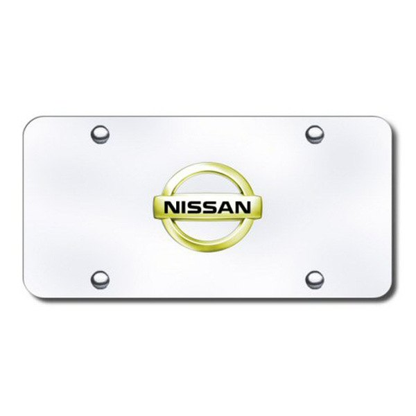Autogold® - Gold Nissan Logo on Chrome License Plate