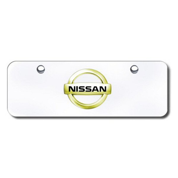 Autogold® - Gold Nissan Logo on Chrome Mini Size License Plate
