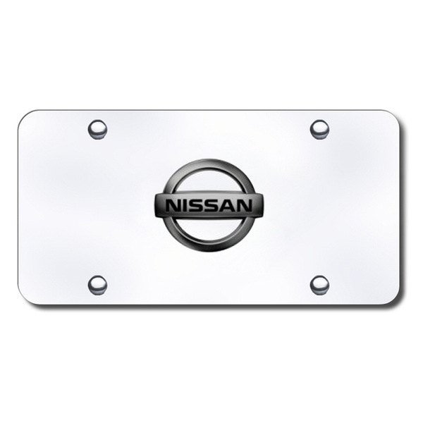 Autogold® - Black Pearl Nissan Logo on Chrome License Plate