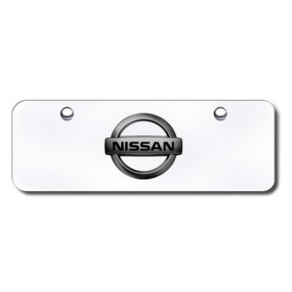 Autogold® - Black Pearl Nissan Logo on Chrome Mini Size License Plate
