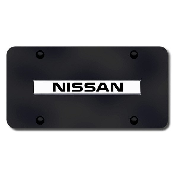 AutoGold� - 3D Chrome Nissan Logo on Black License Plate