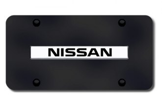 Autogold® - Nissan Name Logo on Black License Plate