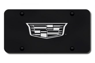 Autogold® - 3D Laser Etched Cadillac (New Logo Only) Logo on Black License Plate