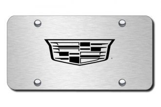 Autogold® - 3D Laser Etched Cadillac (New Logo Only) Logo on Brushed Stainless License Plate