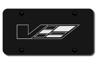 Autogold® - 3D Laser Etched Cadillac V Logo on Black License Plate