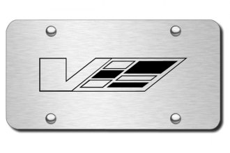Autogold® - 3D Laser Etched Cadillac V Logo on Chrome License Plate