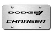 Autogold® - 3D Laser Etched Charger Logo on Chrome License Plate