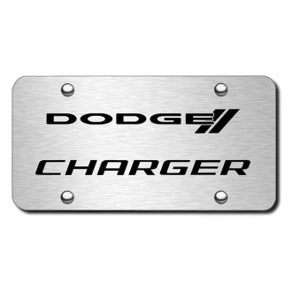 Autogold® - 3D Laser Etched Charger Logo on Brushed Stainless Steel License Plate