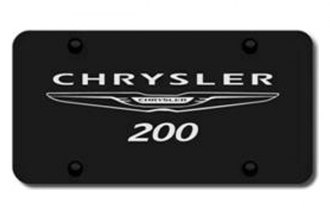 Autogold® - 3D Laser Etched Chrysler 200 Logo on Black License Plate